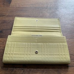 Burberry Bags - Burberry Leather Yellow Check Wallet Clutch